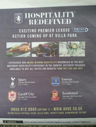 Coventry Telegraph Aston Villa advert