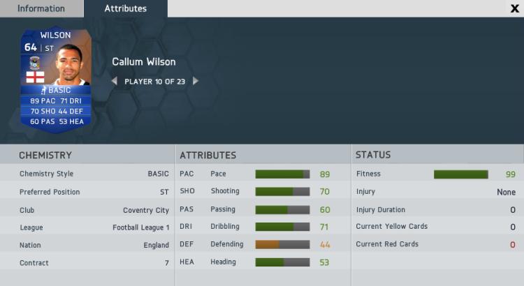 Callum Wilson FUT IF Stats