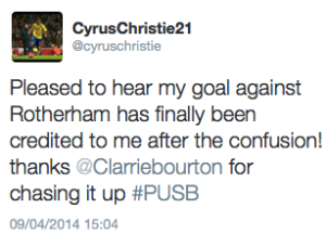 Christie goal tweet