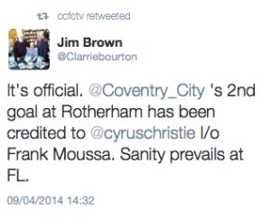 Jim Brown Christe goal tweet
