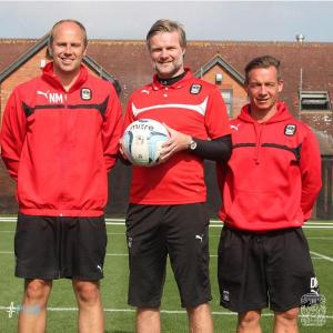 [IMAGE: Coventry City Football Club] Assistant manager Neil MacFarlane, manager Steven Pressley & development coach Darren Murray.