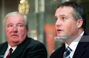 COVENTRY, ENGLAND - JANUARY 21:  Mike McGinnity and Micky Adams the new manager of Coventry City face the cameras during a press conference held at Highfield Road, on January 21, 2005 in Coventry, England.  (Photo by Ross Kinnaird/Getty Images) *** Local Caption *** Mike McGinnity; Micky Adams