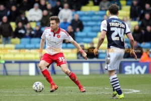 Dean Hammond of Sheffield United in action during Millwall vs Sheffield United, Sky Bet League 1 Football at The Den on 19th March 2016